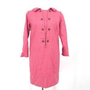 Vintage 1960's Pink Lined Wool Shift Dress